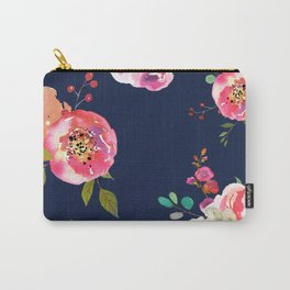 Pink Peonies on Navy Carry-All Pouch