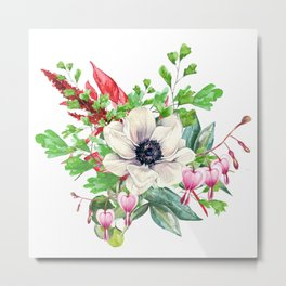 Gentille watercolor handpainted clipart, floral, flower, design, stylish, wedding, invitation Metal Print