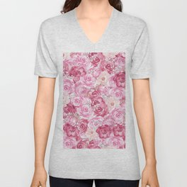 Hand painted white blush pink  coral floral Unisex V-Neck