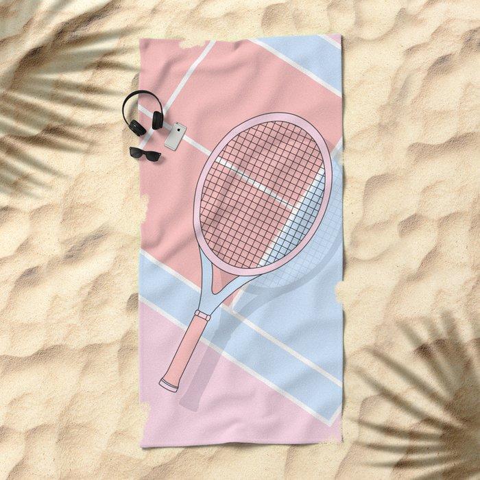 Hold my tennis racket Beach Towel