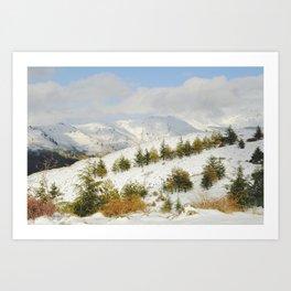 Snow mountains. Retro forest Art Print