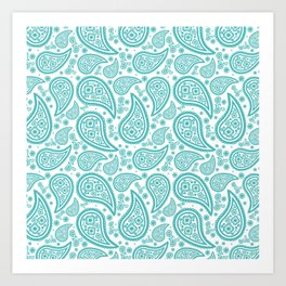 Paisley (Teal & White Pattern) Art Print