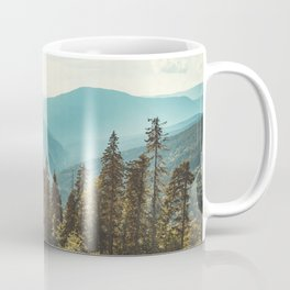 Peaceful landscape panoramic view. Mountain and blue sky background.  Coffee Mug