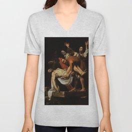Michelangelo Merisi da Caravaggio - The Entombment of Christ Unisex V-Neck