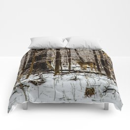 Deer in the Glistening Forest by Teresa Thompson Comforters
