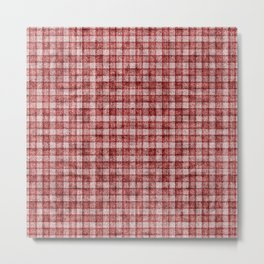 Rusty Red Gingham Faux Terry Toweling Metal Print