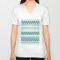 shipping V-neck T-shirts featuring Winter Stripe by Alice Rebecca Potter