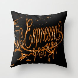Espresso Coffee Artistic Typography Throw Pillow