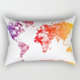 world map watercolor orange Rectangular Pillow
