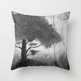 The Dark Forest (B&W) Throw Pillow