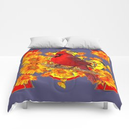 GOLDEN SUNFLOWERS RED CARDINAL GREY ART Comforters