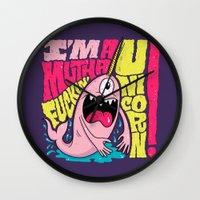 unicorn Wall Clocks featuring UNICORN! by Chris Piascik