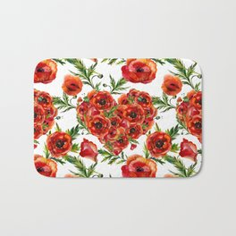 Poppy Heart pattern Bath Mat