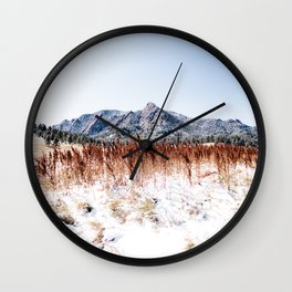 Flatirons Boulder // Colorful Colorado Field Red and Yellow Autumn Snowfall Wall Clock