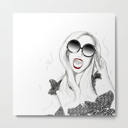 New Year's Party Girl Metal Print