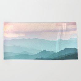 Smoky Mountain National Park Sunset Layers II - Nature Photography Beach Towel