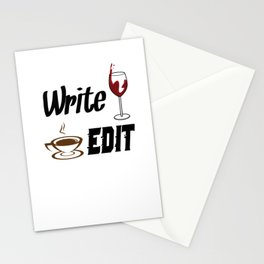 Write Drunk Edit Sober or Caffeinated - Writing Quote Stationery Cards