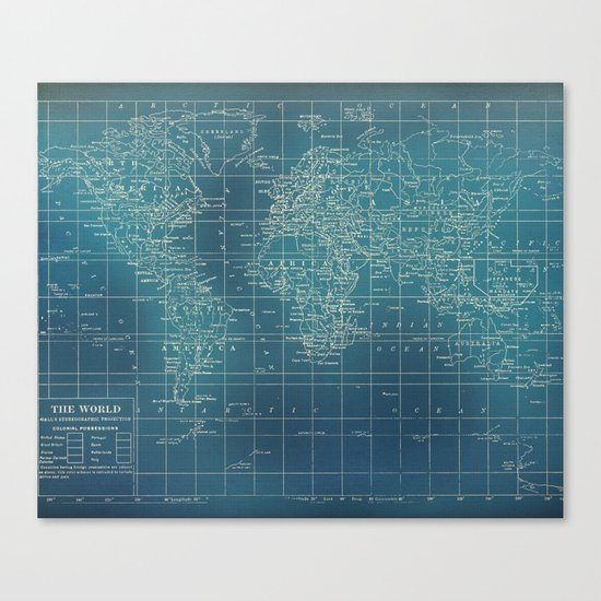 Grunge World Map Canvas Print