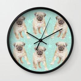 Watercolor Pug Puppy Wall Clock