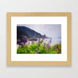 Cape Perpetua - Flowers Above the Ocean Framed Art Print