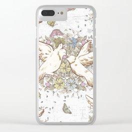 Retro Spring Love Birds Clear iPhone Case