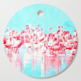Flamingos tropical illustration Cutting Board