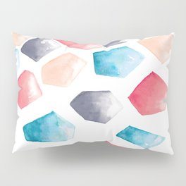 Watercolor Crystals | Blue, Grey and Peach Pillow Sham