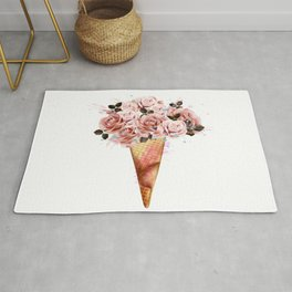 Fashion illustration, print for T-shirt with ice cream from rose flowers Rug