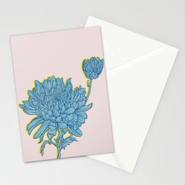 Chrysanthemum in Blue Stationery Cards