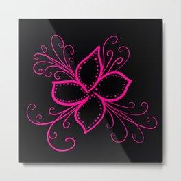 Pink Flower on Black Background Metal Print