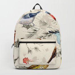 Vintage Seamless Texture Of Little Birds, Watercolor Painting Backpack