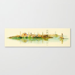 water color illustration panoramic istanbul view Canvas Print