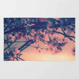 To Love and Be Loved (Spring Pink Cherry Blossoms at Dusk) Rug