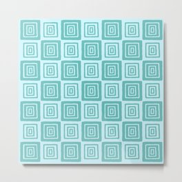 Mid Century Modern Geometric Checker 821 Green and Blue Metal Print
