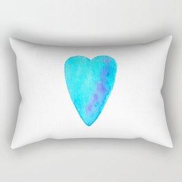 Turquoise Heart Full Of Love Watercolor Rectangular Pillow