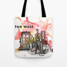 Doctor Who 10th Doctor David Tennant With Companion Rose Tyler Tote Bag