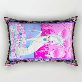 Decorative Fantasy White Unicorn Pink Art Rectangular Pillow