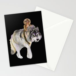 Pygmy marmoset and Wolf Stationery Cards