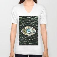 evil eye V-neck T-shirts featuring Evil Eye by Lilly Guastella