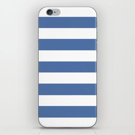 Blue yonder - solid color - white stripes pattern iPhone Skin