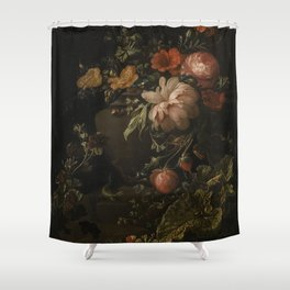 Flowers, Lizards and Insects - Elias van den Broeck (1650-1708) Shower Curtain