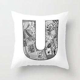 Cutout Letter U Throw Pillow