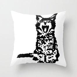 Screaming Kitten (Black & White) Throw Pillow