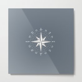 Compass in White on Slate Grey color Metal Print