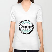 workout V-neck T-shirts featuring The Workout by STRONGER