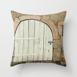 Basement entrance of a medieval house Throw Pillow