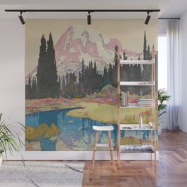 Mount Rainier Vintage Beautiful Japanese Woodblock Print Hiroshi Yoshida Wall Mural