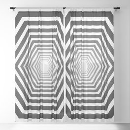 concentric hexagons with black gradient optical illusion Sheer Curtain