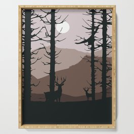 Moonlight into the wood Serving Tray