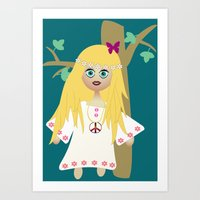 hippie Art Prints featuring Hippie by lescapricesdefilles